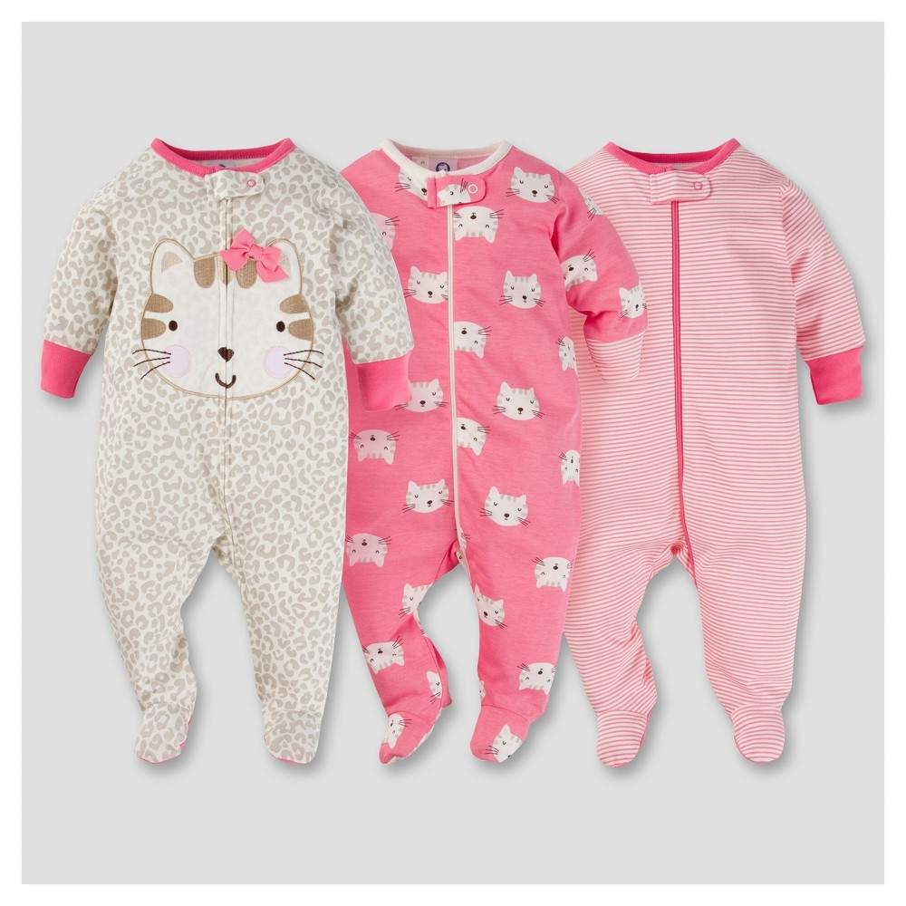 Baby Girls 3pk Zip Front Sleep N Play - Kitty NB - Gerber, Pink