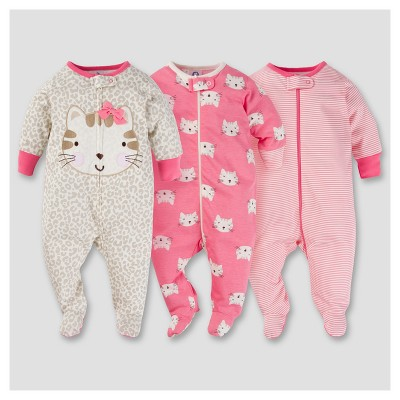 Baby Girls' 3pk Zip Front Sleep N Play - Kitty 0-3M - Gerber®