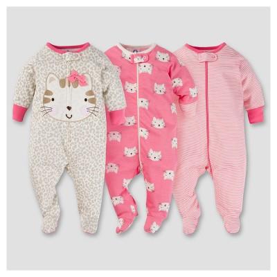 Baby Girls' 3pk Zip Front Sleep N Play - Kitty 0-3M - Gerber®