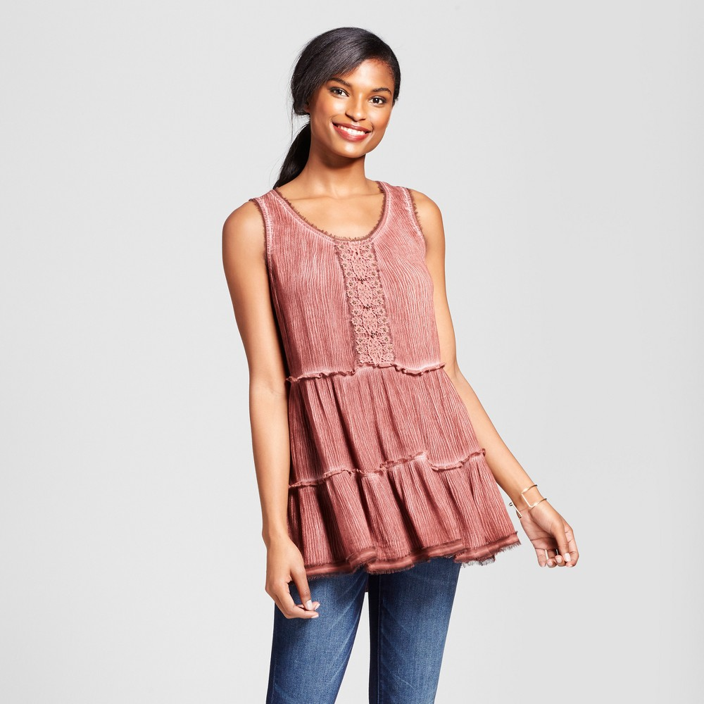 Womens Embellished Oil Wash Tiered Tank - Knox Rose Vintage Red XL