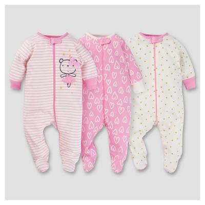 Baby Girls' 3pk Zip Front Sleep N Play - Ballerina 6-9M - Gerber®