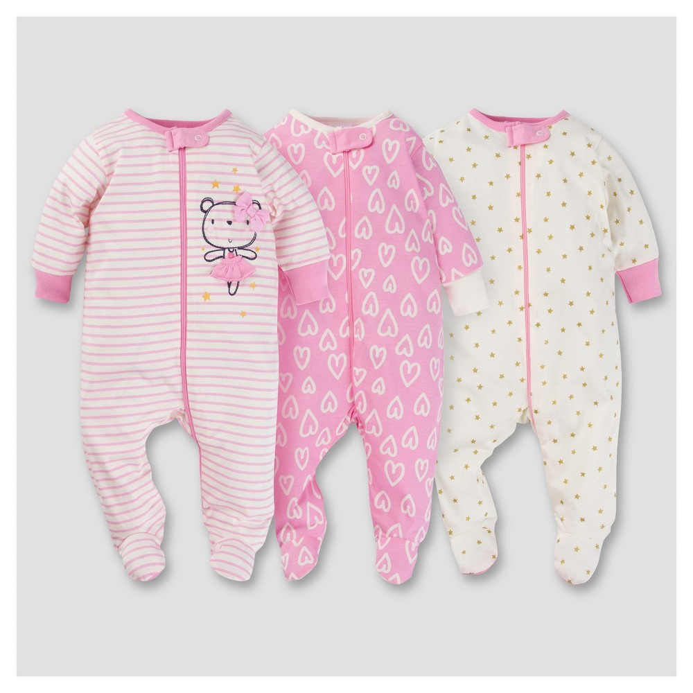 Baby Girls 3pk Zip Front Sleep N Play - Ballerina NB - Gerber, Pink