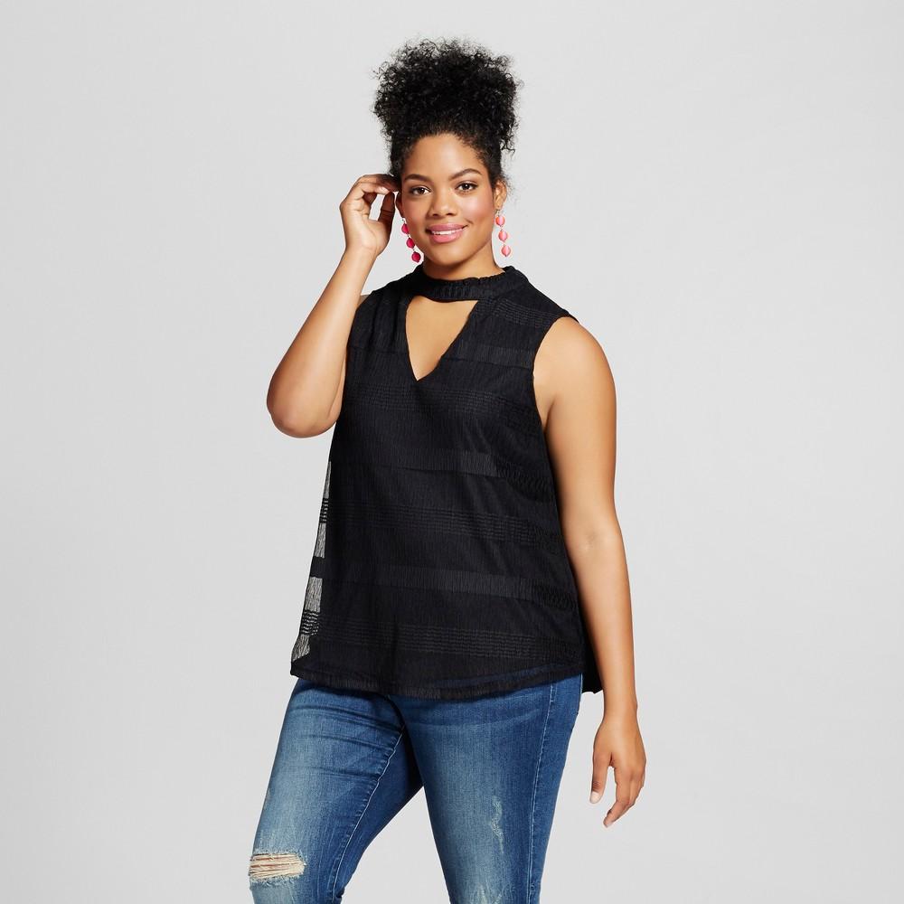 Womens Plus Size High Neck Blouse Black 1X - 3Hearts (Juniors)