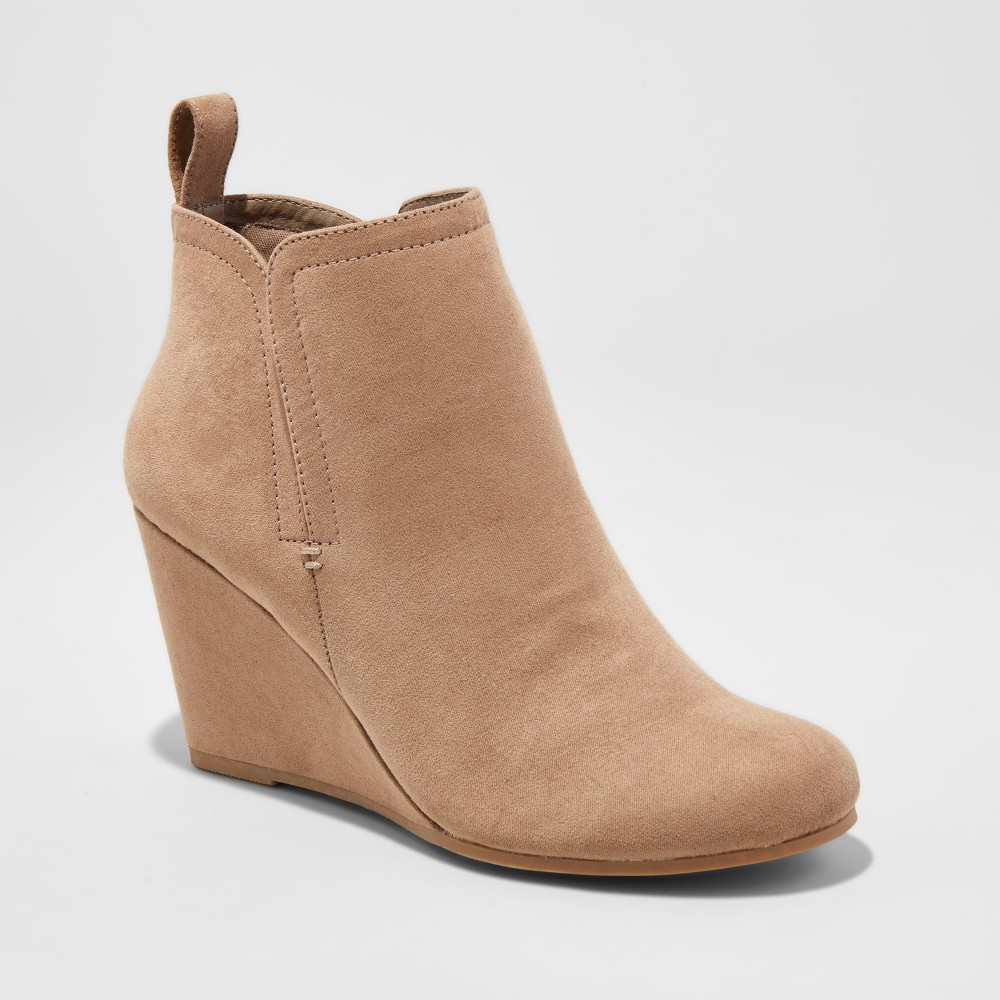 Womens dv Elnora Pull On Wedge Booties - Taupe (Brown) 8.5