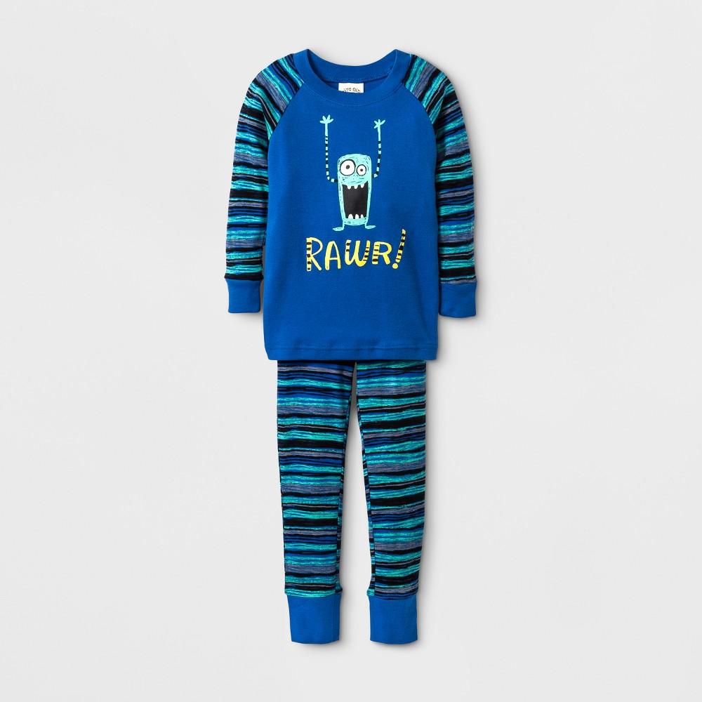 Toddler Boys Nite Nite by Munki Munki Rawr Long John Pajama Set - Blue 4T