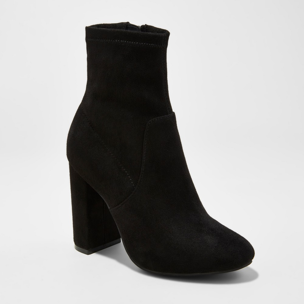 Womens Donnie Side Zipper Sock Booties - A New Day Black 8