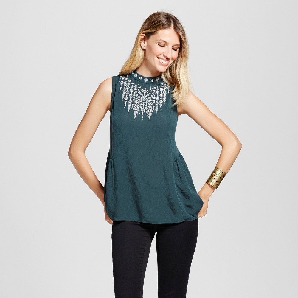 Womens Embroidered High Neck Tank - Knox Rose Jade XS, Green