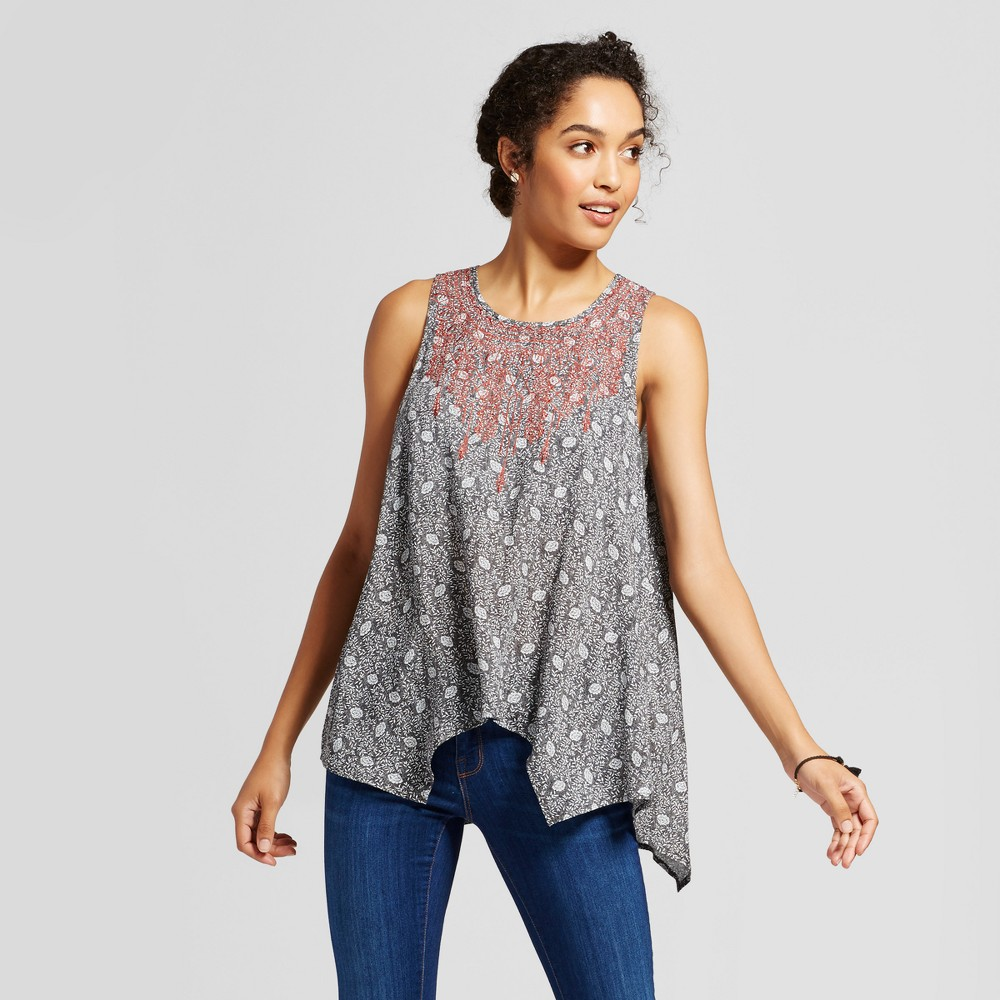 Womens Embroidered Printed Tank - Knox Rose Xxl, Black
