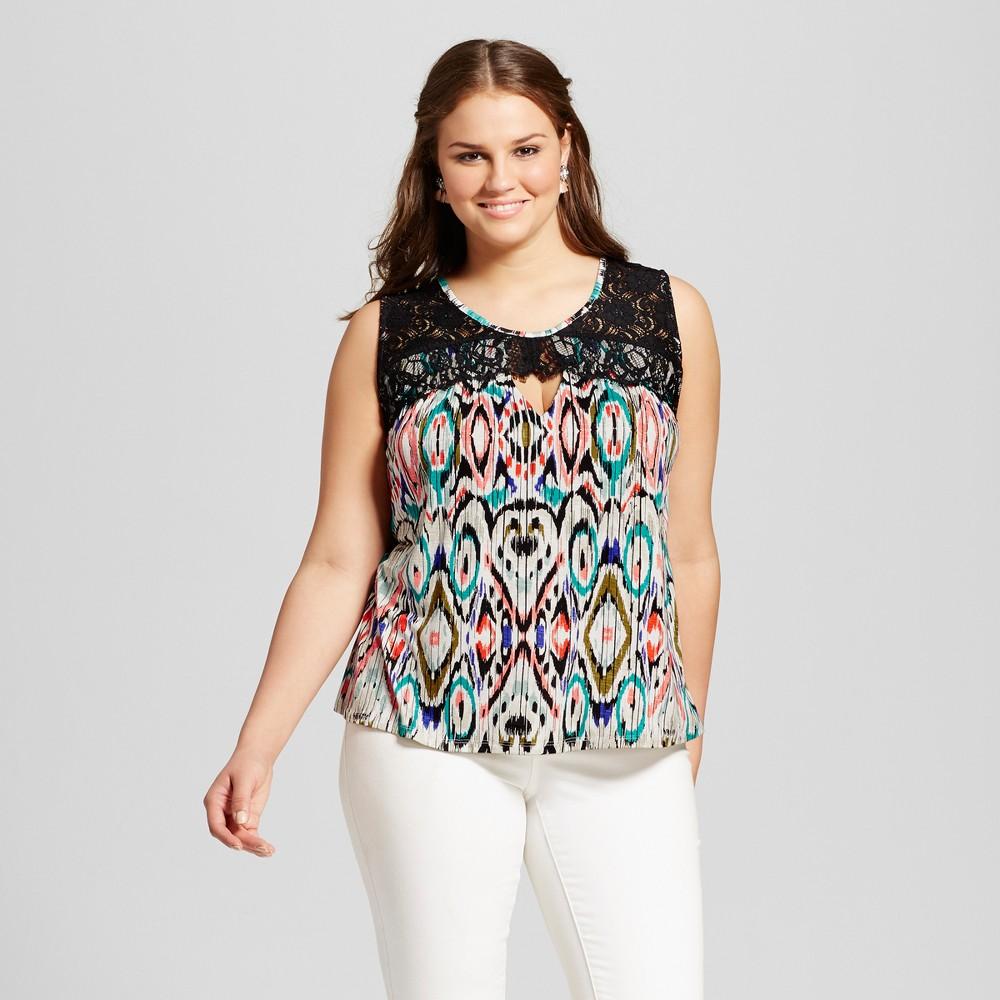 Womens Plus Size Lace Blouse Blue 3X - 3Hearts (Juniors), Blue Orange