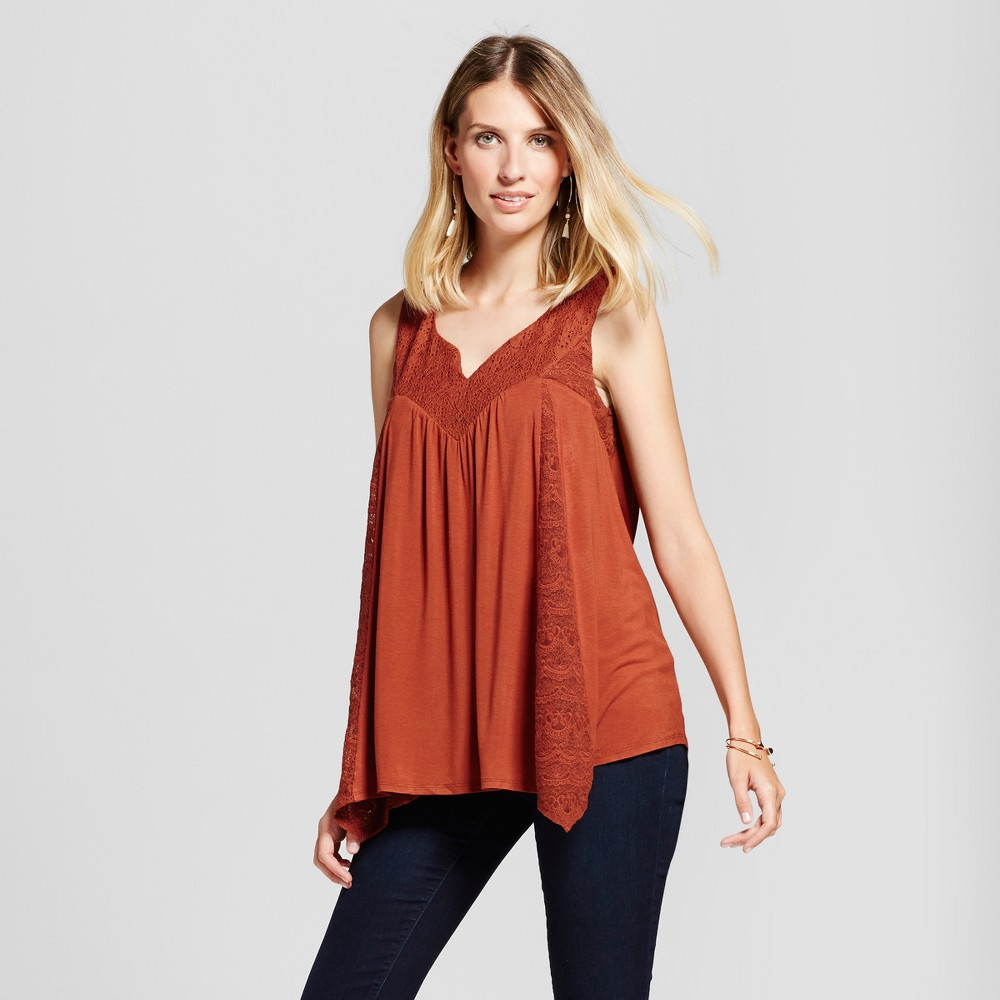 Womens Knit Tank with Lace - Knox Rose Rust L, Red