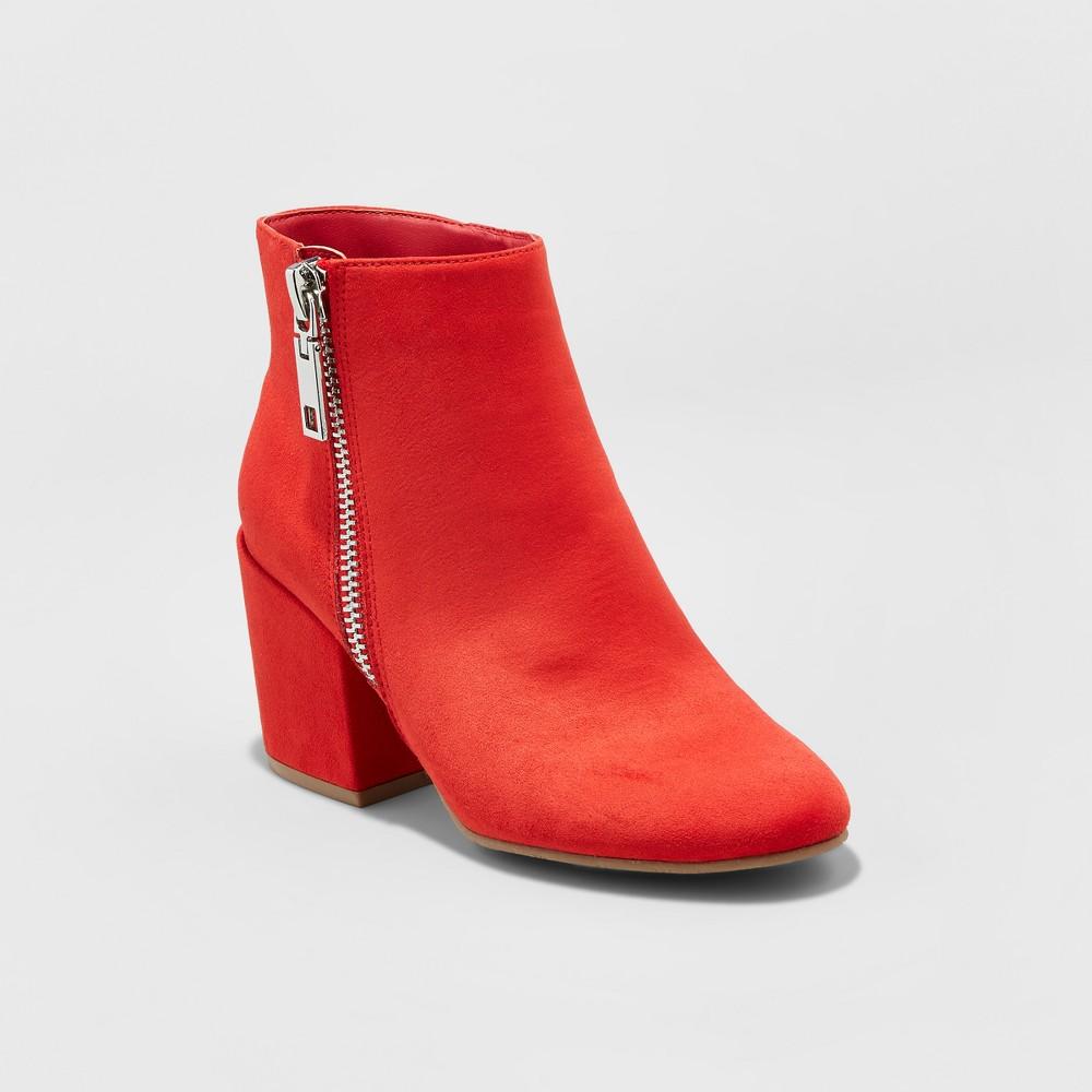 Womens dv Creola Zipper Block Booties - Red 10