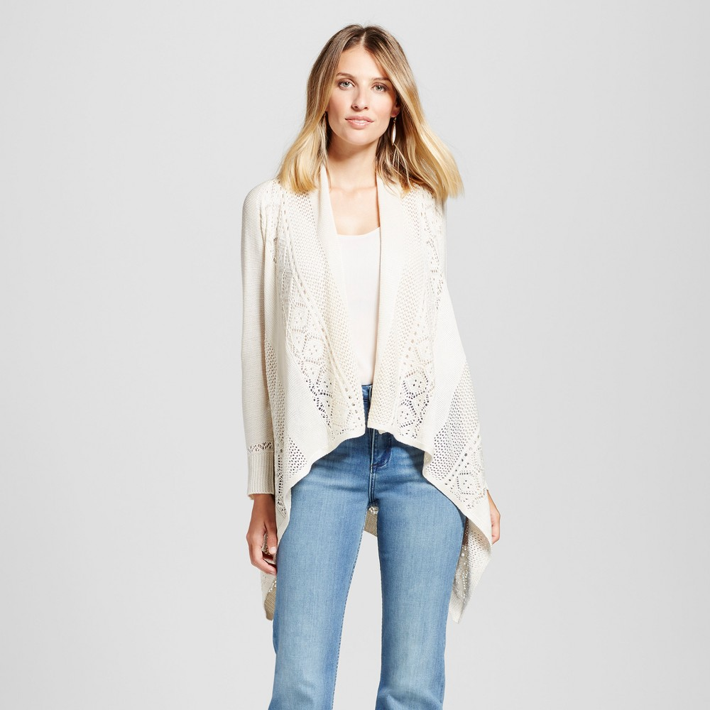 Womens Sharkbite Cardigan with Crochet Back - Knox Rose Ivory XS, White