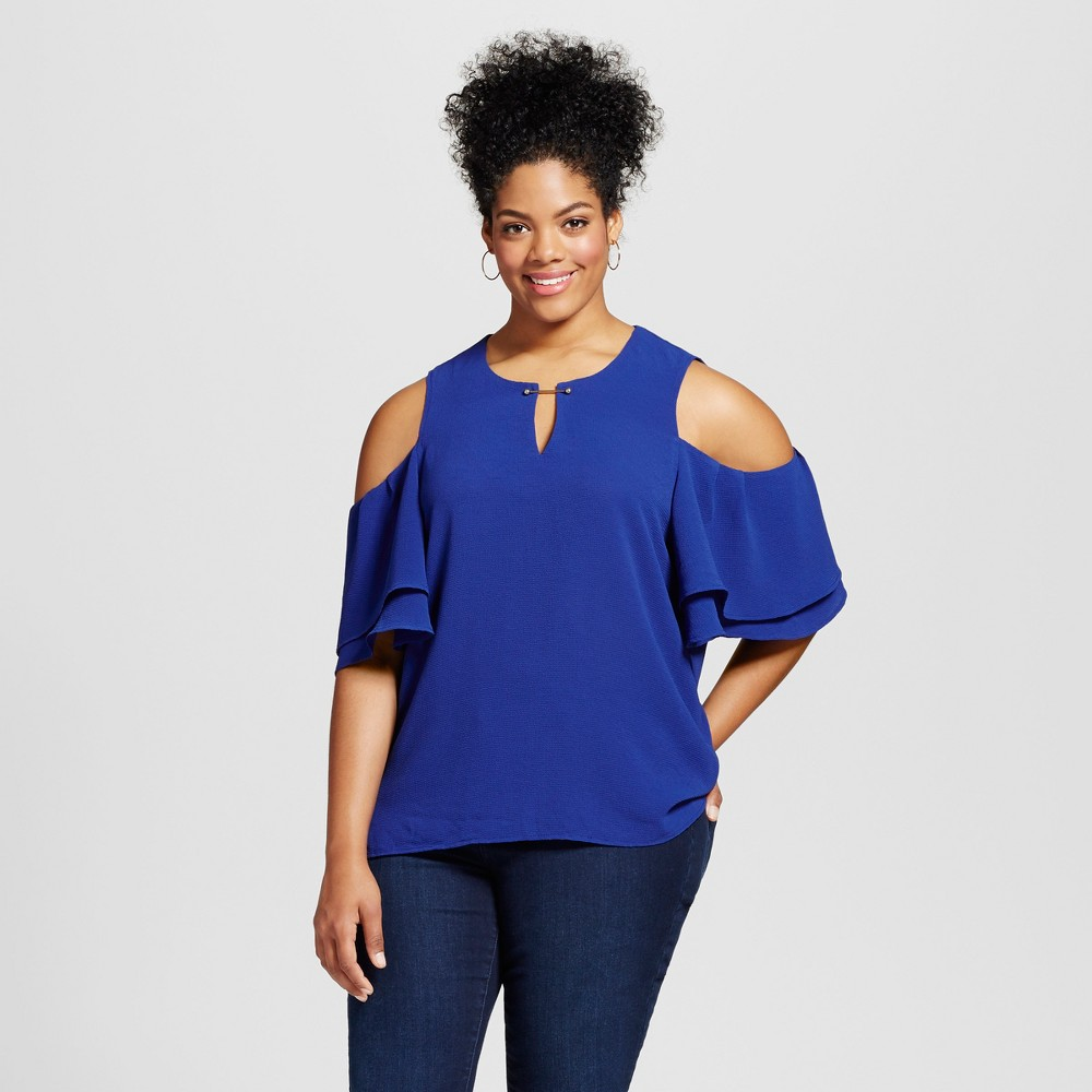Womens Plus Size Ruffle Keyhold Cold Shoulder Blouse Blue 1X - 3Hearts (Juniors)