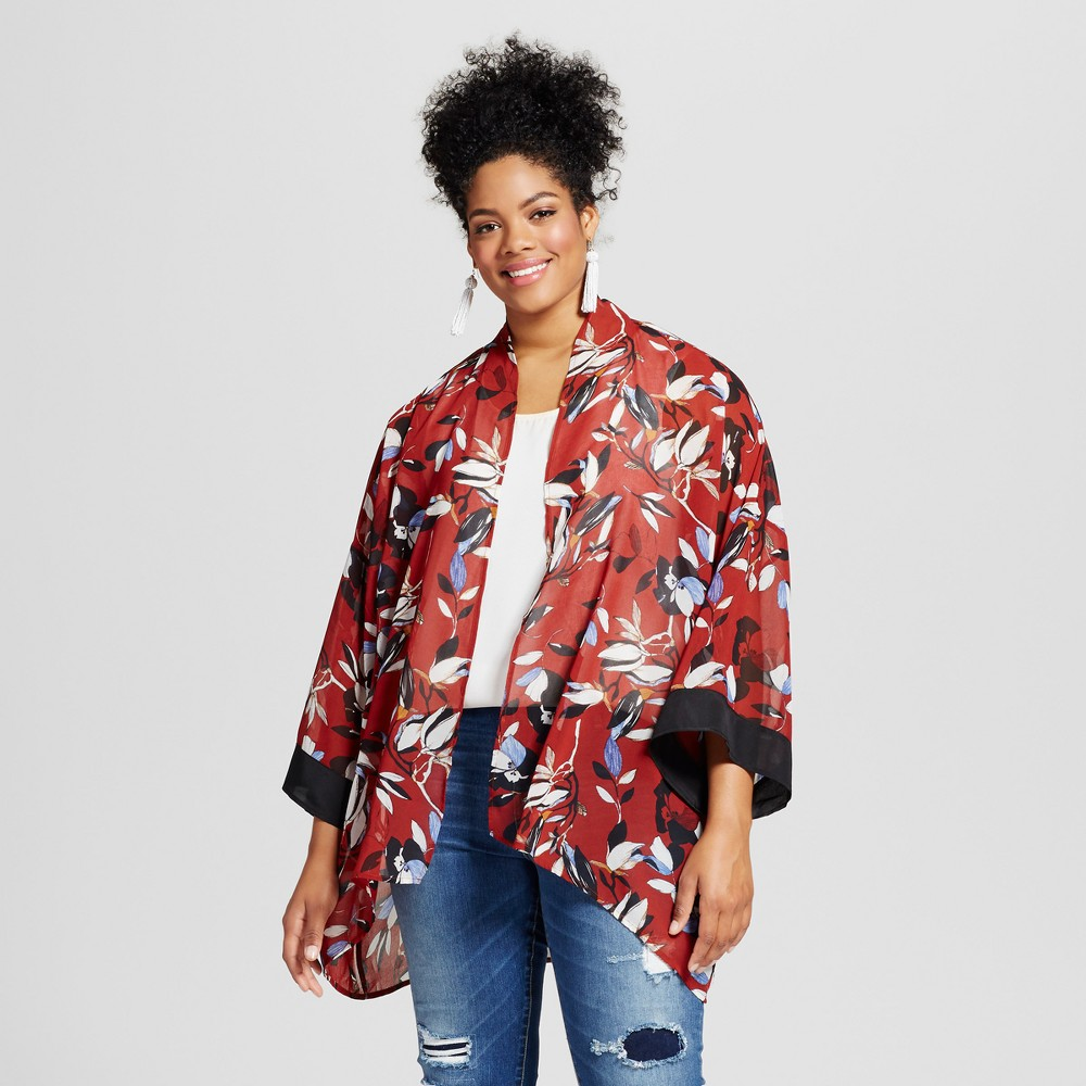 Womens Plus Size Floral Printed Kimono Top Red 3X - 3Hearts (Juniors), Brown Red Off-White