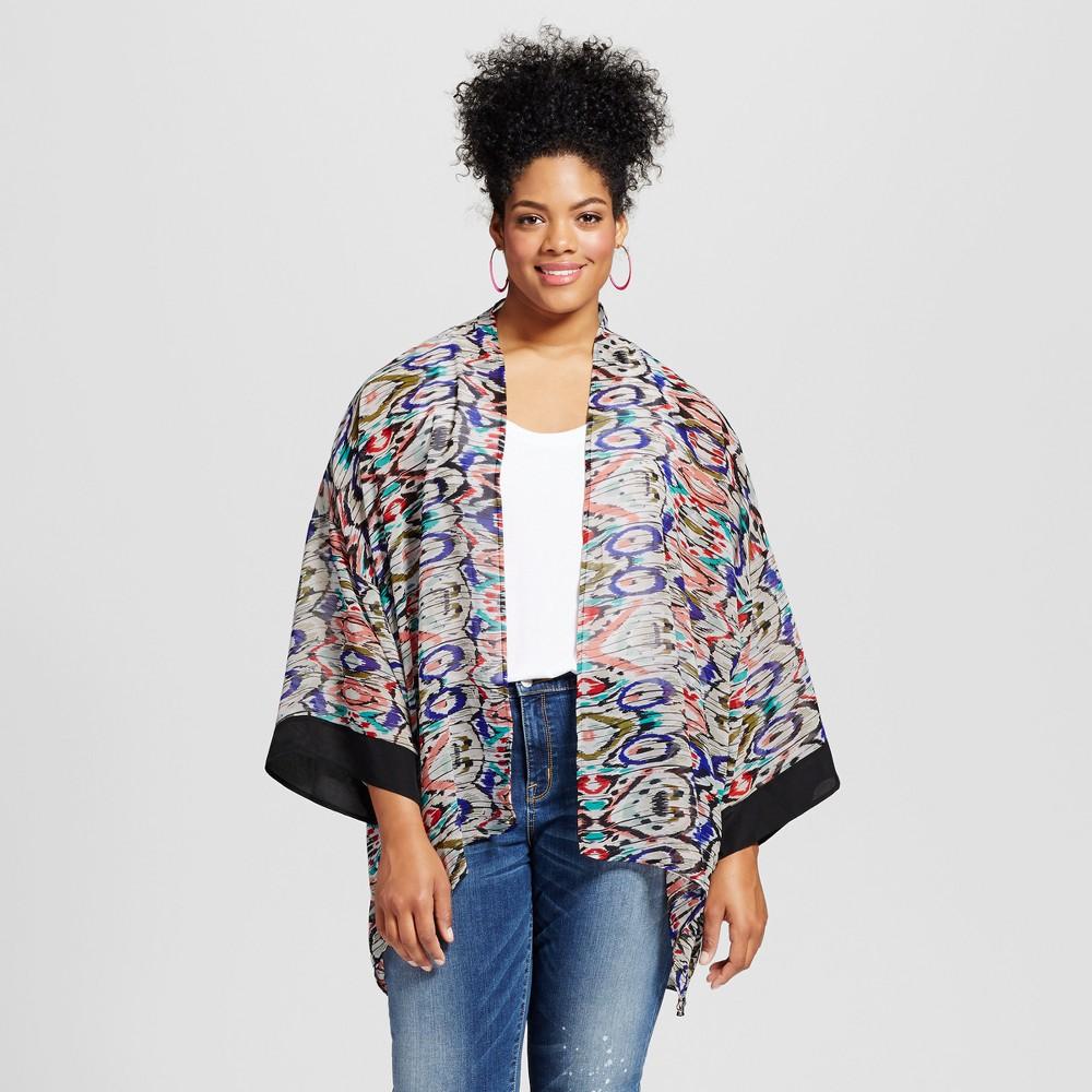 Womens Plus Size Printed Kimono Top Blue 3X - 3Hearts (Juniors), Blue Orange