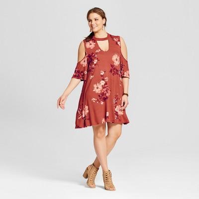 Women's Plus Size Cold Shoulder Dress Red - 3Hearts (Juniors')