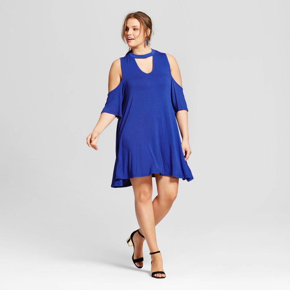 Womens Plus Size Cold Shoulder Dress Blue 2X - 3Hearts (Juniors)