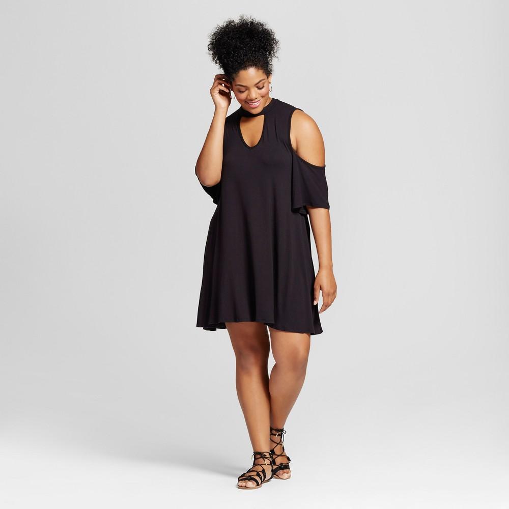 Womens Plus Size Cold Shoulder Dress Black 3X - 3Hearts (Juniors)