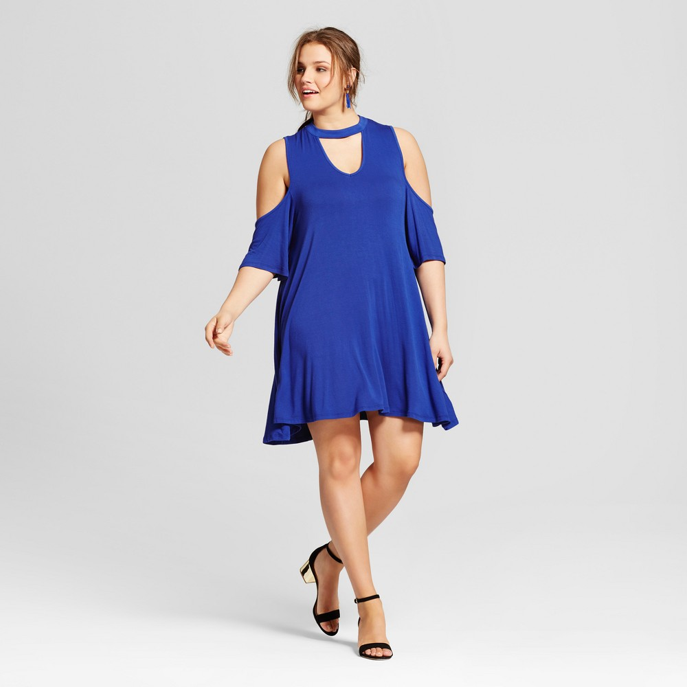 Womens Plus Size Cold Shoulder Dress Blue 3X - 3Hearts (Juniors)