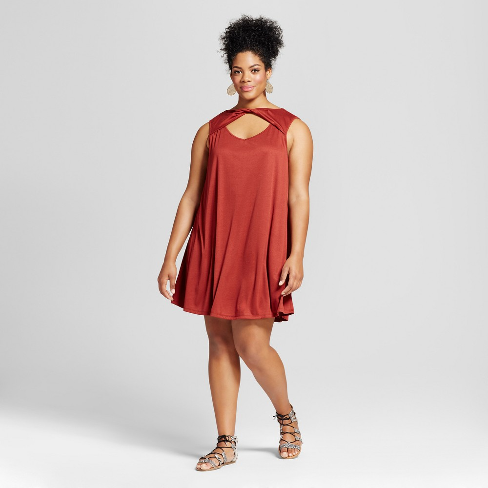 Womens Plus Size Sleeveless Dress Red 2X - 3Hearts (Juniors)