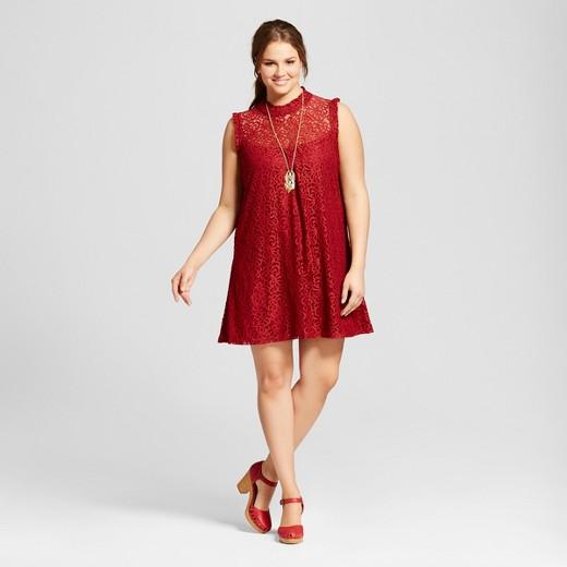 women's plus size lace illusion high neck dress - 3hearts (juniors