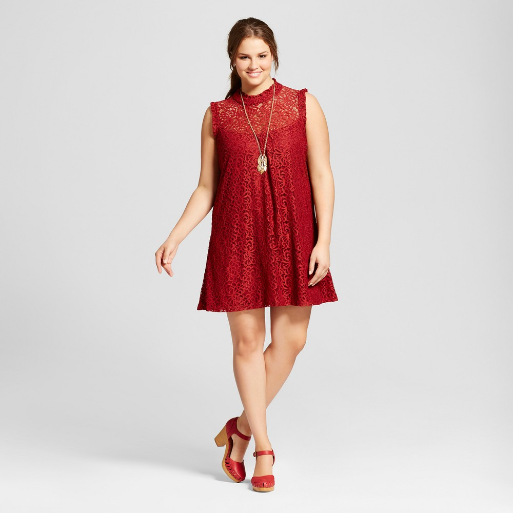 Womens Plus Size Lace Illusion High Neck Dress Red 2X - 3Hearts (Juniors)