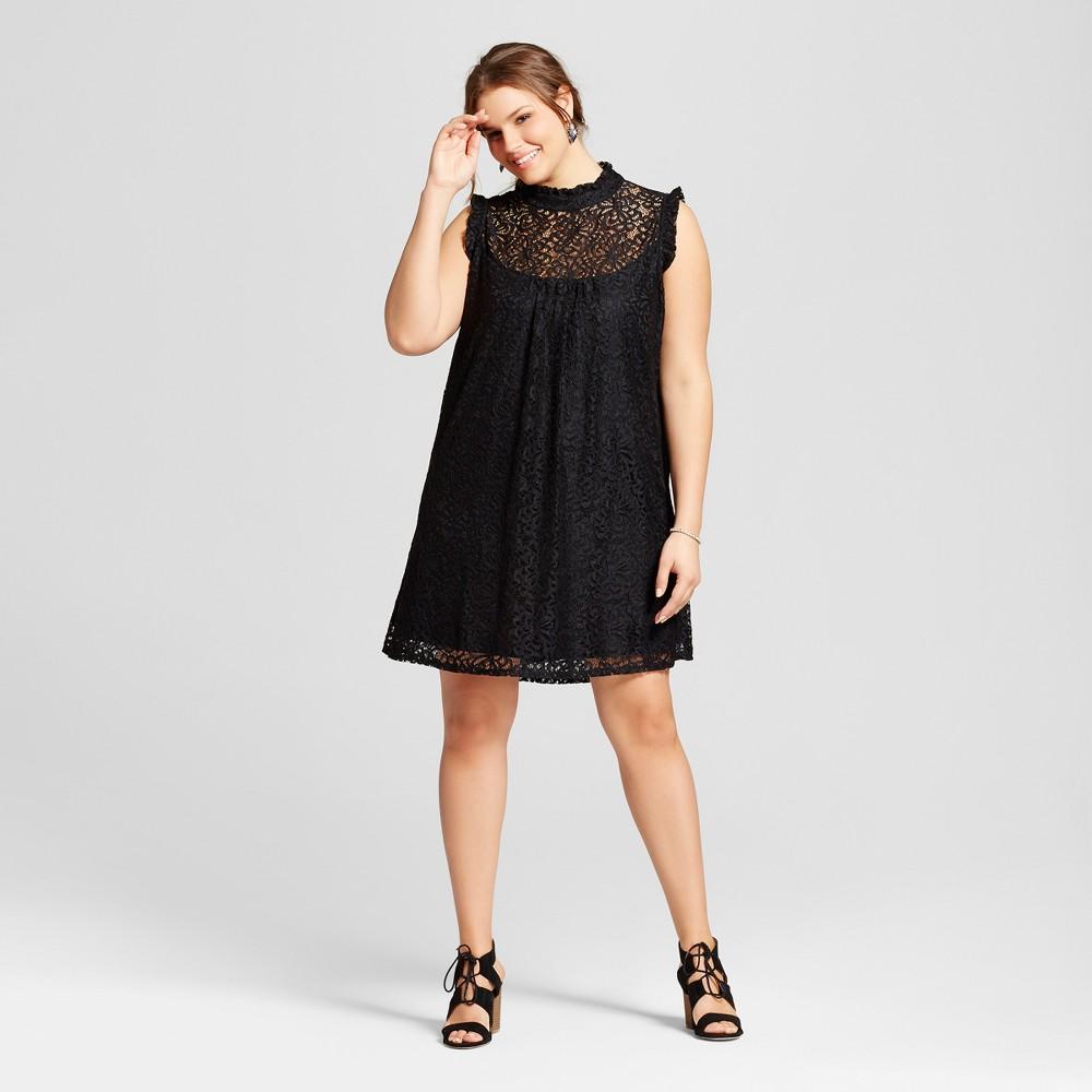 Womens Plus Size Lace Illusion High Neck Dress Black 2X - 3Hearts (Juniors)