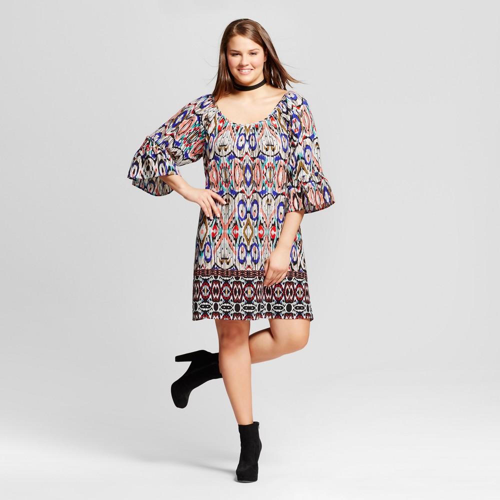 Womens Plus Size Bell-Sleeve Shift Dress - 3Hearts (Juniors) Tribal 2X