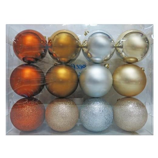 12ct Metallics 100mm Christmas Ornament Set  Wondershop  Target
