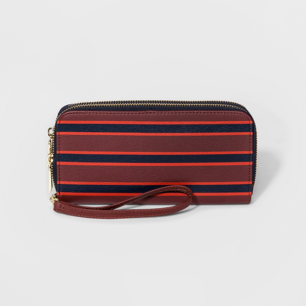 Womens Double Zip Wallet - A New Day Red, Red/Multicolor