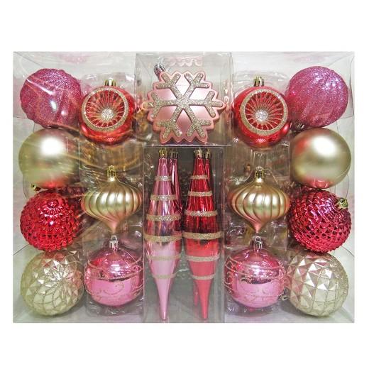 40ct Fashion Blush Christmas Ornament Set  Wondershop  Target