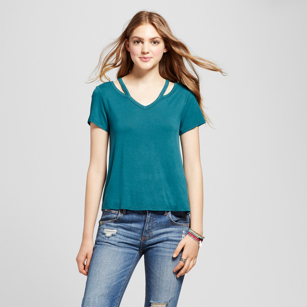 Womens Cut Out T-Shirt - Mossimo Supply Co. Teal (Blue) XS