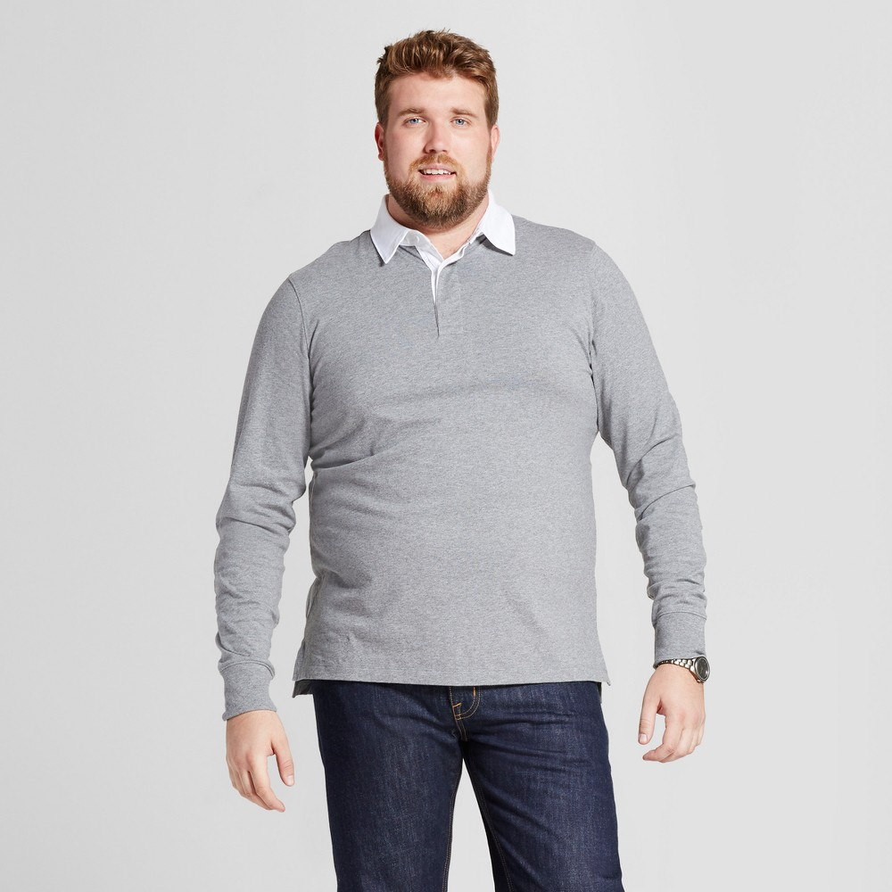 Men's Big & Tall Standard Fit Long Sleeve Rugby Polo - Goodfellow & Co Medium Heather Gray 2XBT