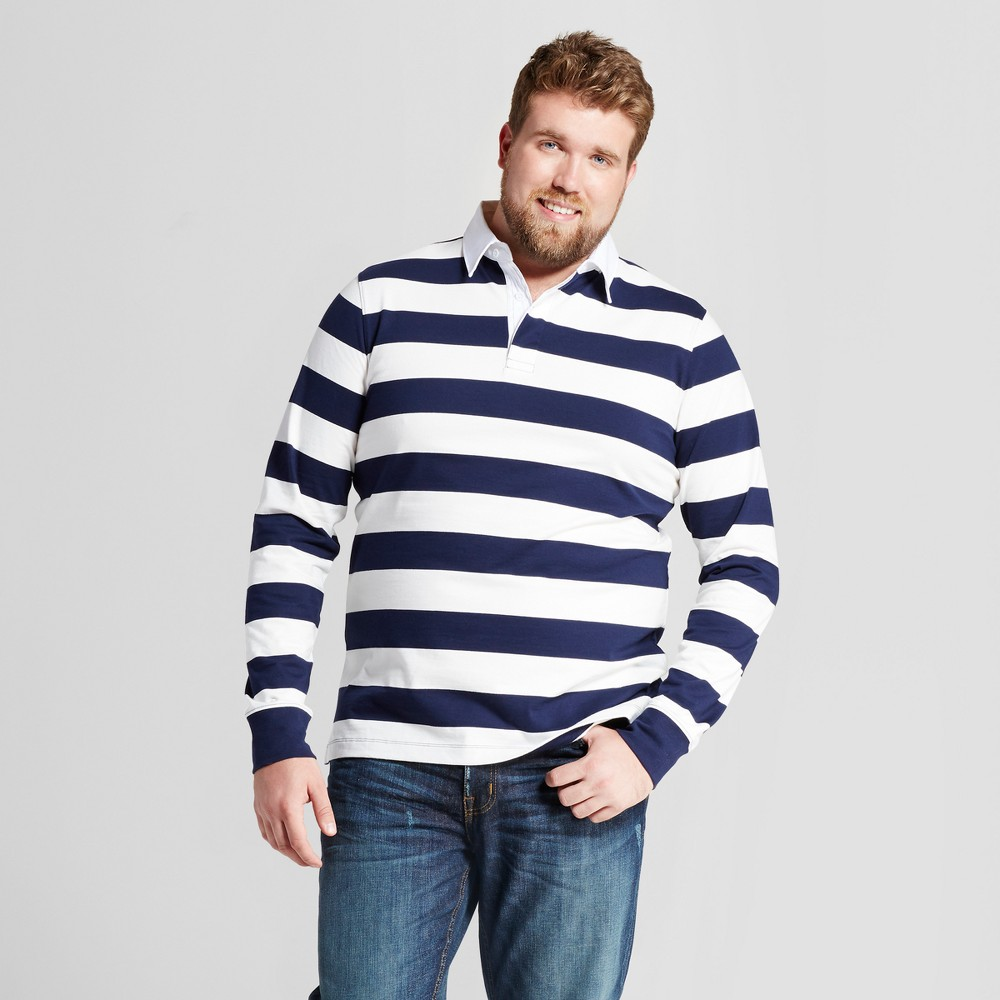 Mens Big & Tall Standard Fit Long Sleeve Rugby Polo - Goodfellow & Co Navy (Blue) 4XBT