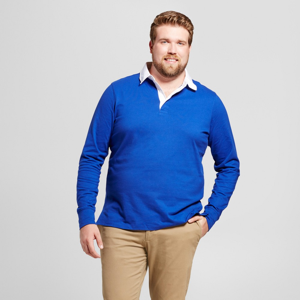 Mens Big & Tall Standard Fit Long Sleeve Rugby Polo - Goodfellow & Co Royal Blue 4XBT