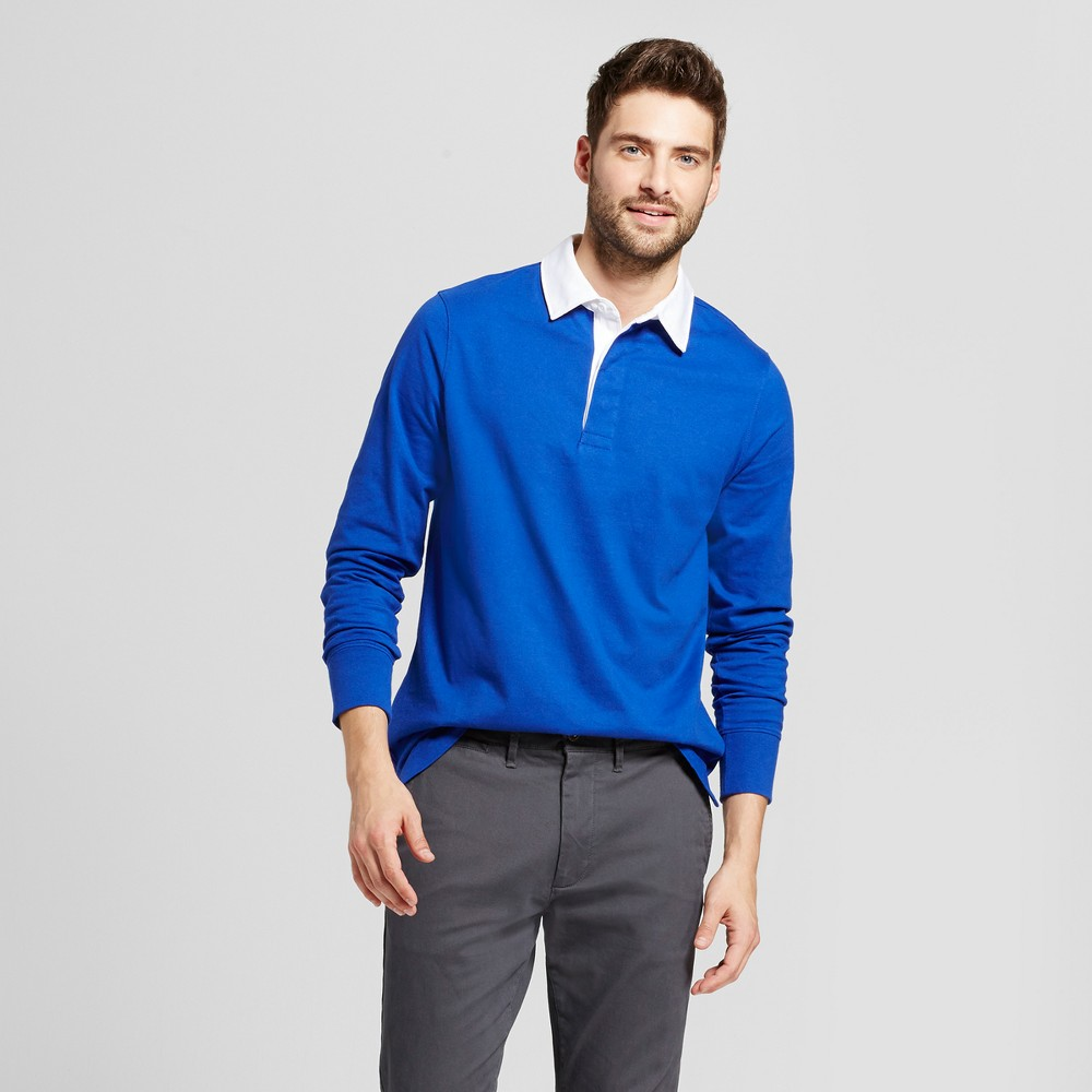 Mens Standard Fit Long Sleeve Rugby Polo - Goodfellow & Co Royal Blue L
