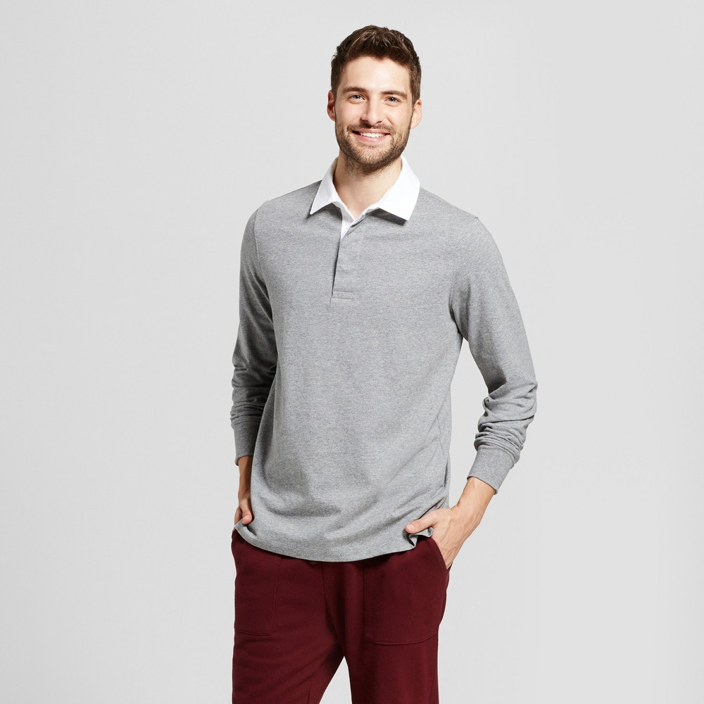 Mens Standard Fit Long Sleeve Rugby Polo - Goodfellow & Co Medium Heather Gray M