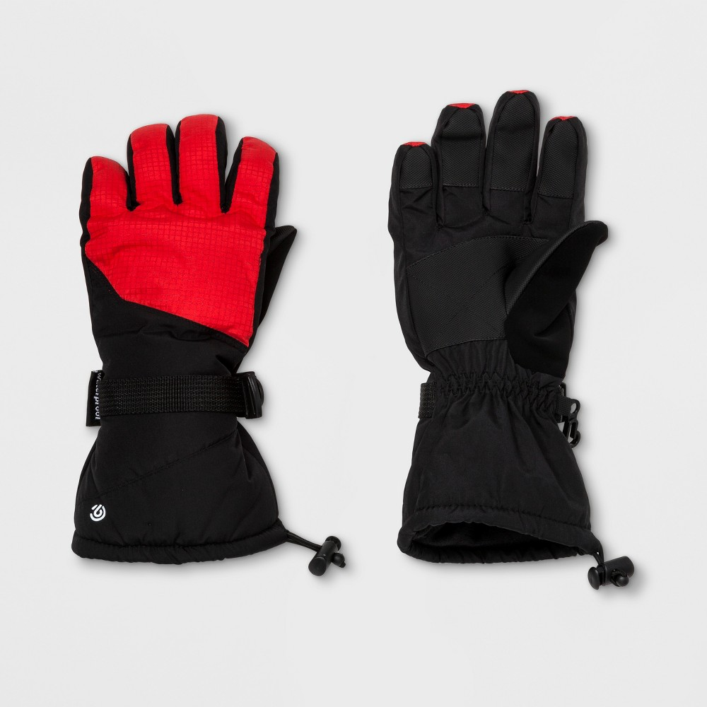 Boys Embossed Pieced Color Block Ski Glove - C9 Champion Red/Black 8-16, Black Red