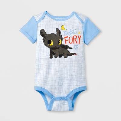 DreamWorks Baby How to Train Your Dragon Night Fury Short Sleeve Bodysuit - Light Blue 0-3M