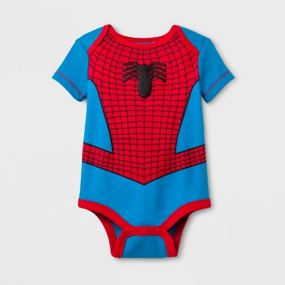 Marvel Baby Spider-Man Short Sleeve Bodysuit - Blue/Red 6-9M