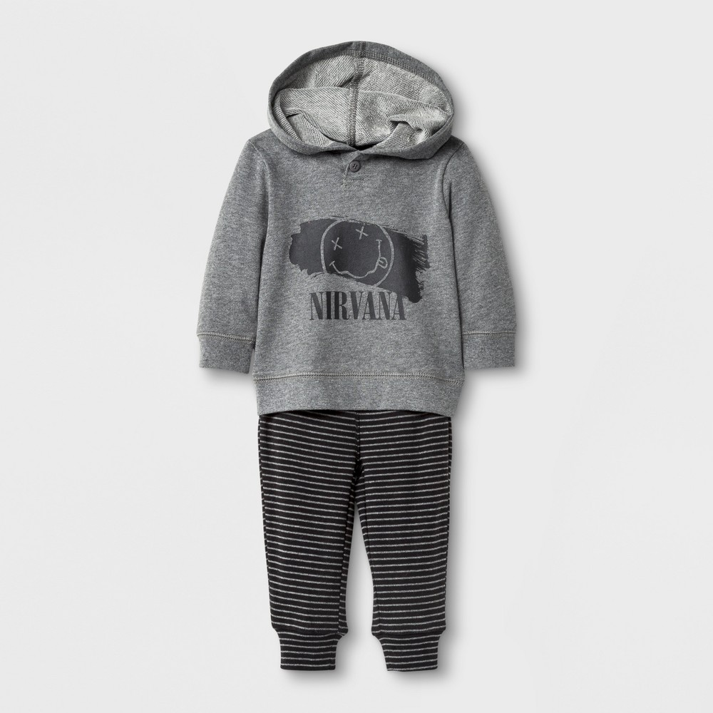 Baby Boys Nirvana Hoodie and Pants Set Gray - Live Nation 3-6Months, Size: 3-6 M