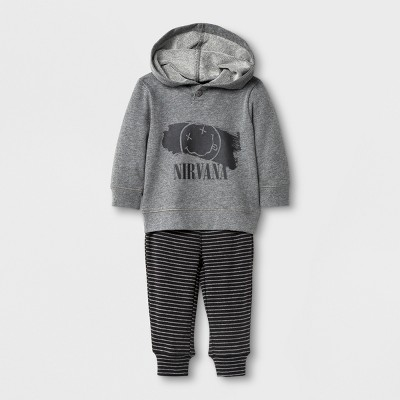 Live Nation Baby Boys' Nirvana Long Sleeve Hooded Top and Pants Set - Gray 6-9M