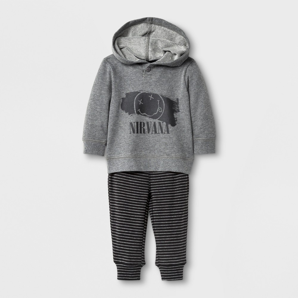 Baby Boys Nirvana Hoodie and Pants Set Gray - Live Nation 6-9Months, Size: 6-9 M