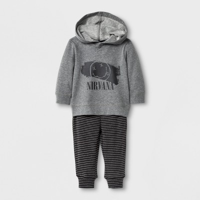 Live Nation Baby Boys' Nirvana Long Sleeve Hooded Top and Pants Set - Gray 12M