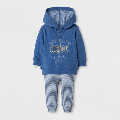 Epic Rights Baby Boys' AC/DC Long Sleeve Hooded Top and Pants Set - Blue 0-3M