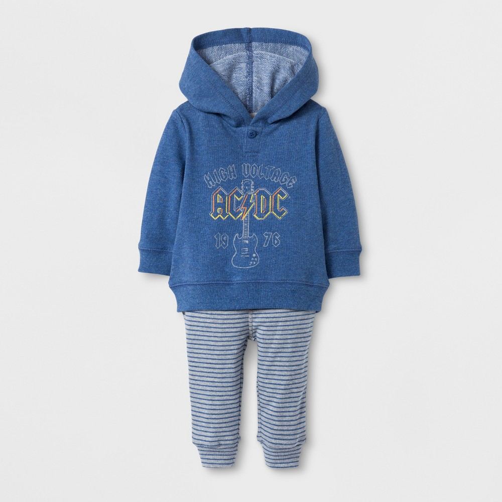 Baby Boys AC/DC Hoodie and Pants Set Blue - Epic Rights 6-9Months, Size: 6-9 M