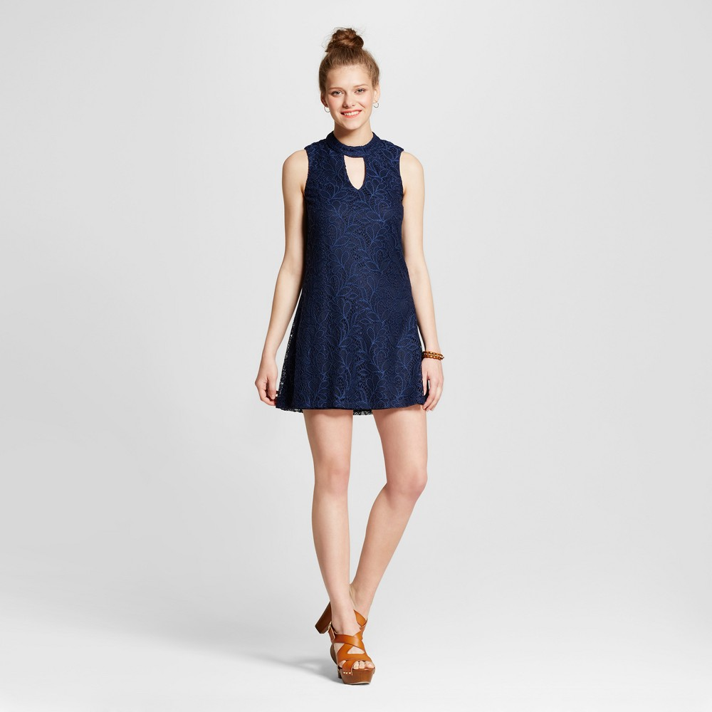 Womens Lace Mock Neck Cut Out Shift Dress - Lily Star (Juniors) Navy (Blue) M
