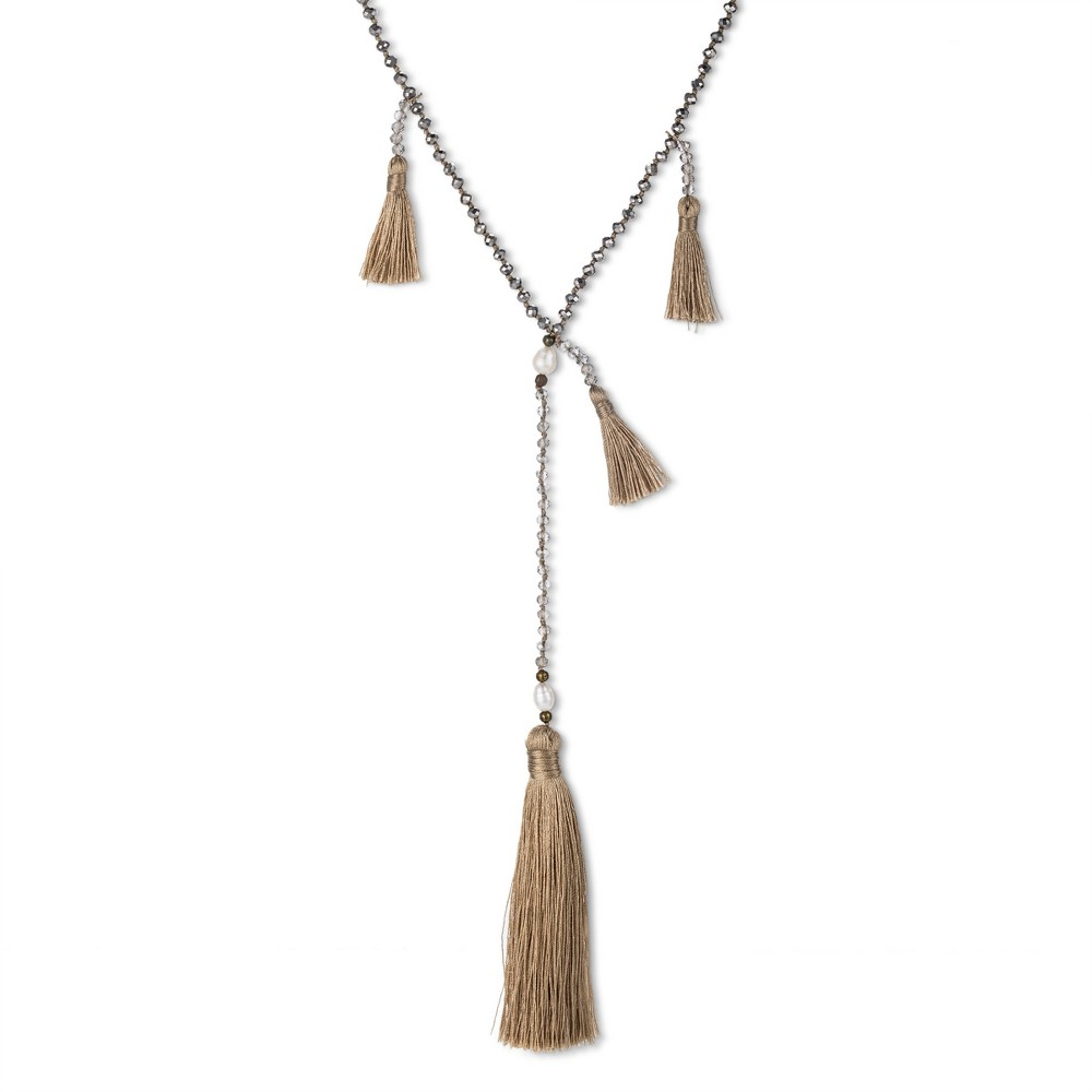 Get Gem by Gemelli Sedona Tassel Necklace - Taupe, Womens, Almost There