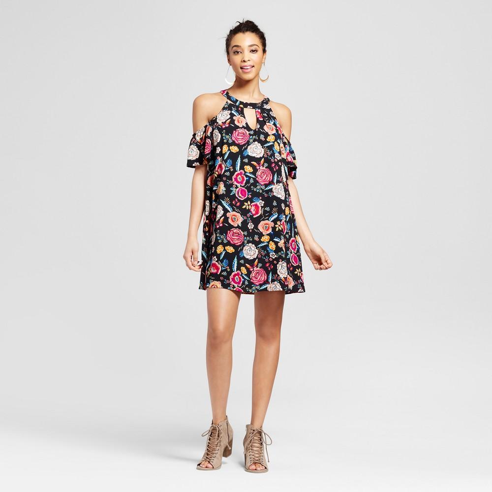 Womens Floral Cut Out Cold Shoulder Dress - Lily Star (Juniors) Black M