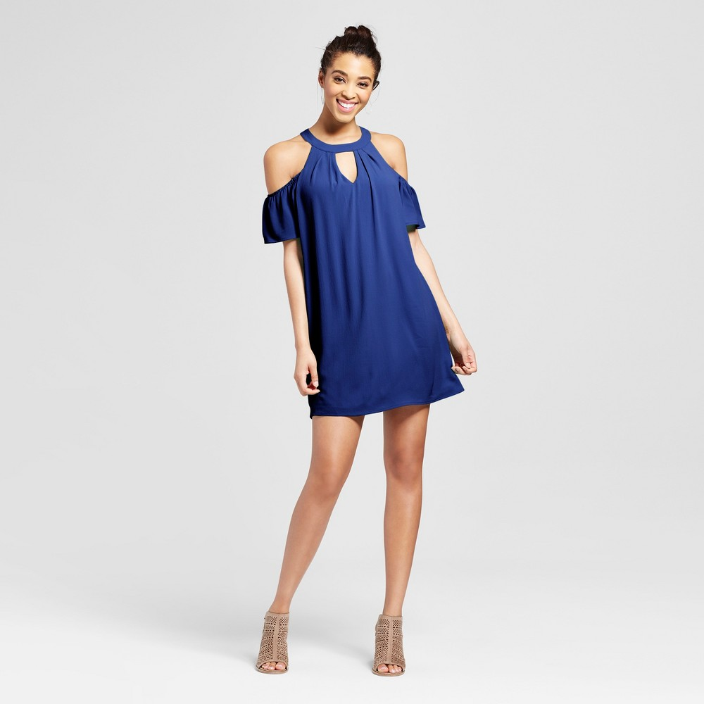 Womens Cut Out Cold Shoulder Dress - Lily Star (Juniors) Blue S
